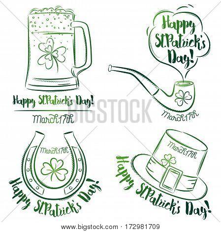 Design for St Patricks Day shamrock horseshoe beer mug pipe hat vector illustration