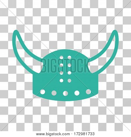 Horned Helmet vector pictograph. Illustration style is flat iconic cyan symbol on a transparent background.