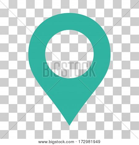 Map Marker vector pictogram. Illustration style is flat iconic cyan symbol on a transparent background.