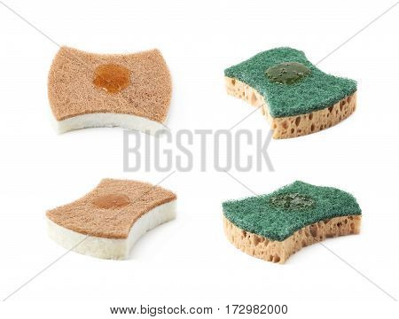 Artificial fiber kitchen sponge with a drop of a dishwashing liquid isolated over the white background, set of four different foreshortenings