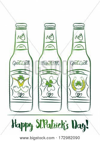 Design for St Patricks Day with three beer bottle with labels of shamrock horseshoe and pipe vector illustration