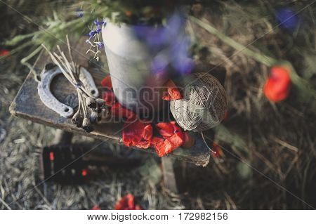 Still Life with a horseshoe tangle of thread and poppy petals