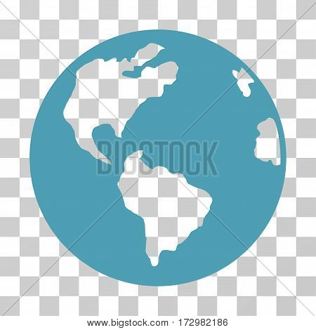 Planet Earth vector icon. Illustration style is flat iconic cyan symbol on a transparent background.