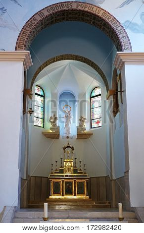 DEIR RAFAT ISRAEL - FEBRUARY 17 2017: Sculpture of the Virgin Mary in the church in the monastery of Dir Rafatt