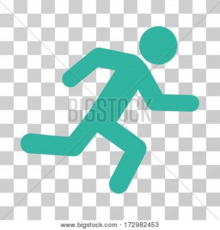 Running Man vector pictograph. Illustration style is flat iconic cyan symbol on a transparent background.