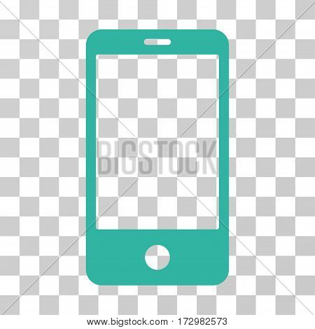 Smartphone vector icon. Illustration style is flat iconic cyan symbol on a transparent background.