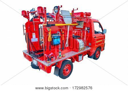 Horizontal shot of a red Baby Firetruck From the Rear Isolated On White.