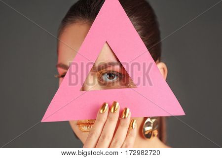 Close up view of beautiful woman with holiday makeup