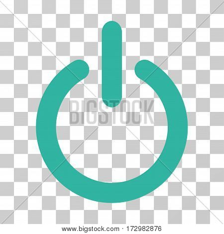 Turn Off vector icon. Illustration style is flat iconic cyan symbol on a transparent background.