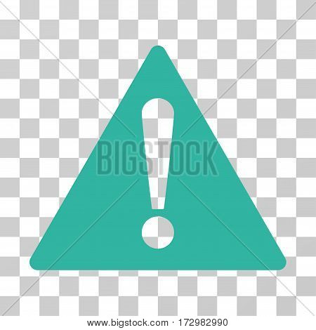 Warning vector pictogram. Illustration style is flat iconic cyan symbol on a transparent background.