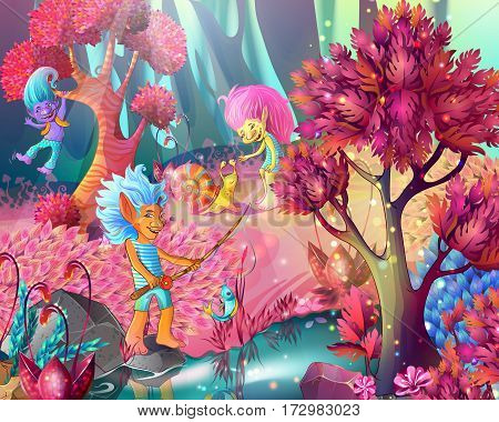 Cartoon game design magic template with funny trolls characters in enchanted bright forest vector illustration