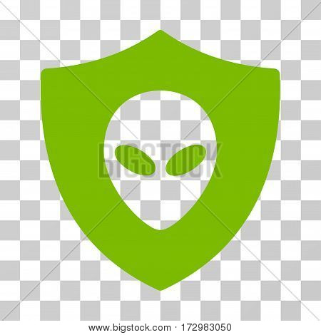 Alien Protection vector pictogram. Illustration style is flat iconic eco green symbol on a transparent background.