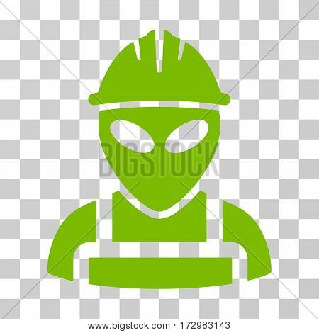 Alien Worker vector pictograph. Illustration style is flat iconic eco green symbol on a transparent background.