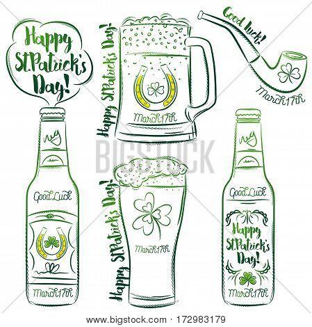 Design for St Patricks Day shamrock horseshoe beer mug bottle pipe vector illustration