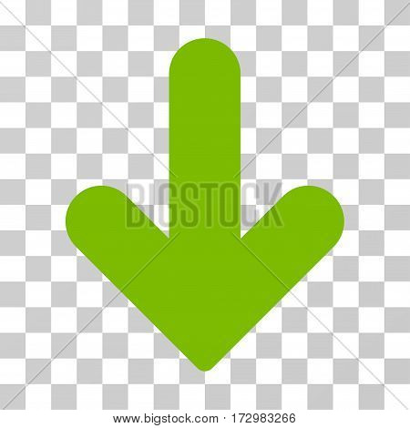 Arrow Down vector pictograph. Illustration style is flat iconic eco green symbol on a transparent background.