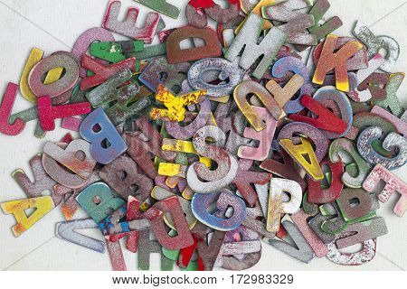 random painted wooden letters