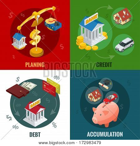 Isometric buying on credit, cashless payments, debit credit balances bookkeeping budget planning concept and accumulation. Flat infographic elements.