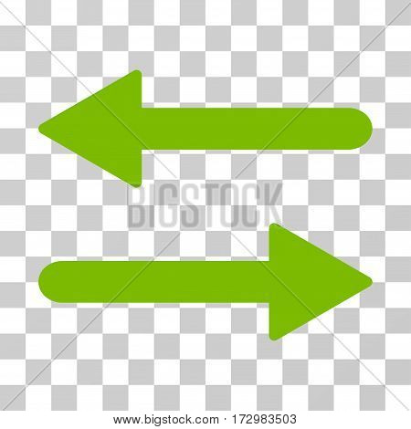 Arrows Exchange Horizontal vector icon. Illustration style is flat iconic eco green symbol on a transparent background.