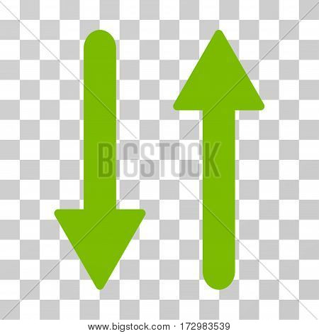 Arrows Exchange Vertical vector icon. Illustration style is flat iconic eco green symbol on a transparent background.