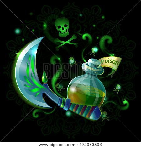 Cartoon game weapon template with medieval sabre flask with poison skull crossbones in green colors vector illustration