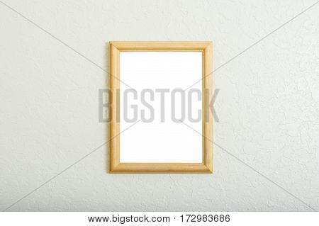 Horizontal shot of a Blank Vertical Picture Frame Background On a Wall With Copy Space.