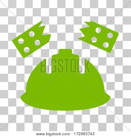 Brick Helmet Accident vector pictograph. Illustration style is flat iconic eco green symbol on a transparent background.
