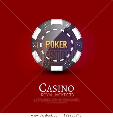 Casino poker ship poster design template. Poker chip design vector illustration.