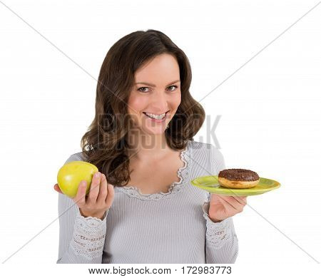 Young Woman Holding Green Apple And A Plate Of Donut On White Background