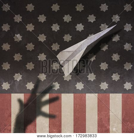 Usa Flag Paper Airplane and Hand Shadow