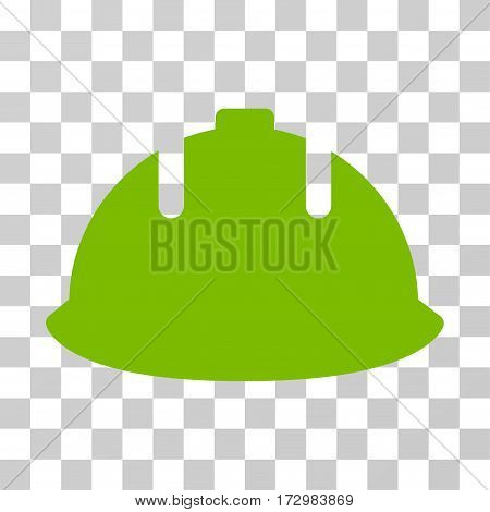 Builder Helmet vector icon. Illustration style is flat iconic eco green symbol on a transparent background.