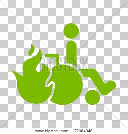 Burn Patient vector icon. Illustration style is flat iconic eco green symbol on a transparent background.