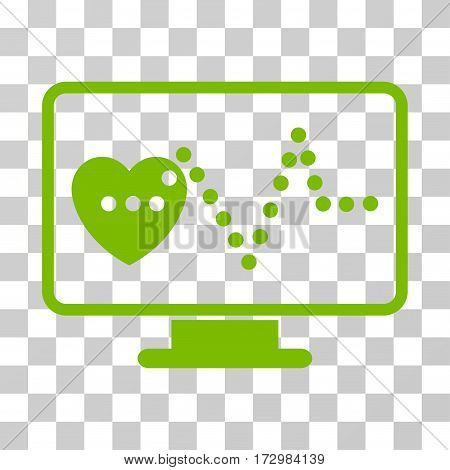 Cardio Monitoring vector pictograph. Illustration style is flat iconic eco green symbol on a transparent background.