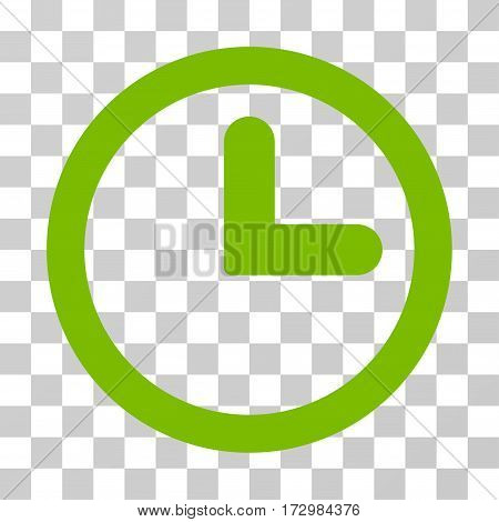 Clock vector icon. Illustration style is flat iconic eco green symbol on a transparent background.