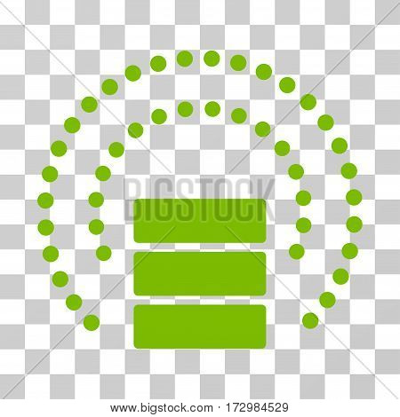 Database Sphere Shield vector icon. Illustration style is flat iconic eco green symbol on a transparent background.