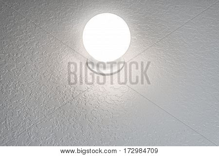 Horizontal shot of a Glowing Crystal Ball On a Textured Background With Copy Space.