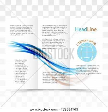 Vector modern tri-fold brochure design template with colorful dynamic wave background vector eps10