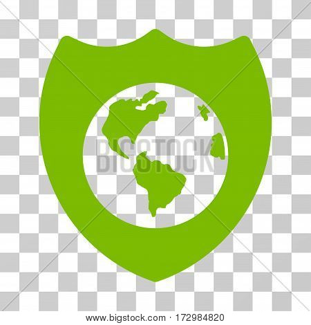 Earth Shield vector pictograph. Illustration style is flat iconic eco green symbol on a transparent background.