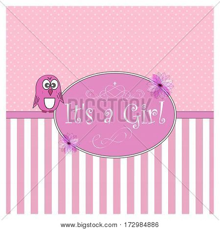 It s a Girl. Baby shower card. Vector illustration.