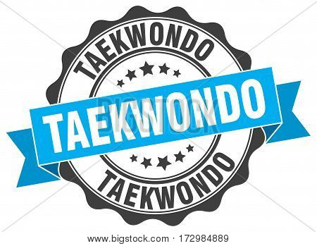 taekwondo. stamp. sign. seal. round. retro. ribbon