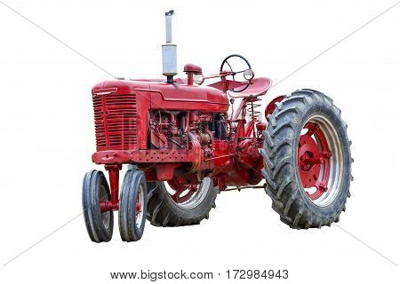 Old Red Work Tractor Isolated On White.