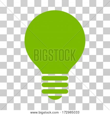 Electric Bulb vector pictogram. Illustration style is flat iconic eco green symbol on a transparent background.