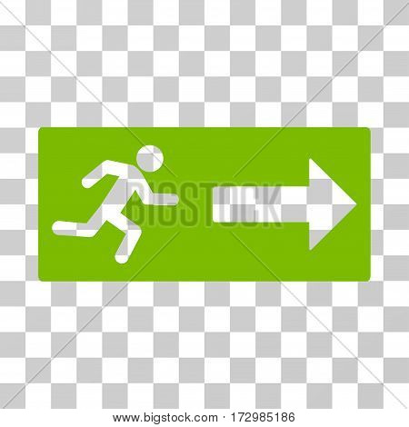 Emergency Exit vector pictograph. Illustration style is flat iconic eco green symbol on a transparent background.