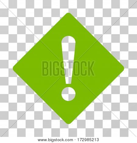 Error Rhombus vector icon. Illustration style is flat iconic eco green symbol on a transparent background.