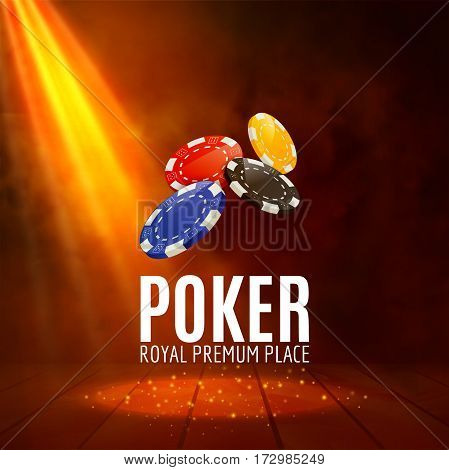 Shining Casino Poker Banner Poster. Stage Spotlight Poker design with chips. Casino poster.