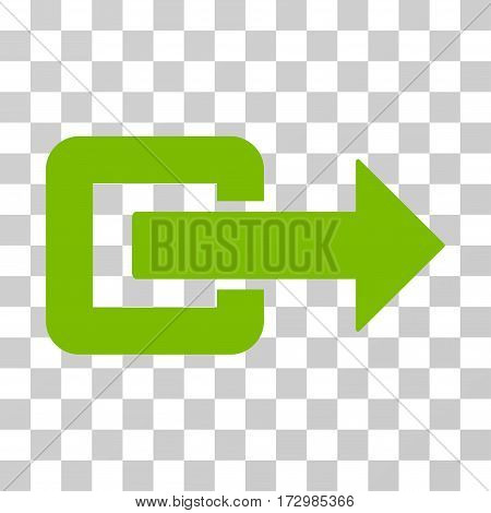 Exit Direction vector icon. Illustration style is flat iconic eco green symbol on a transparent background.