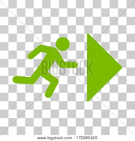 Exit Direction vector pictogram. Illustration style is flat iconic eco green symbol on a transparent background.