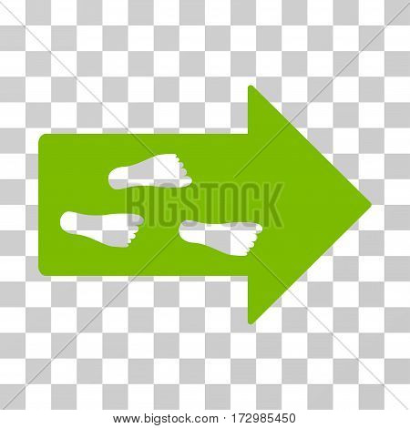 Exit Direction vector pictograph. Illustration style is flat iconic eco green symbol on a transparent background.