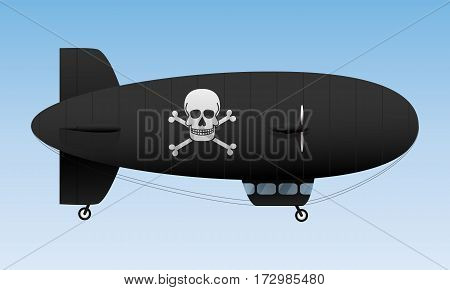 Black airship. Pirate air transport. Vector illustration
