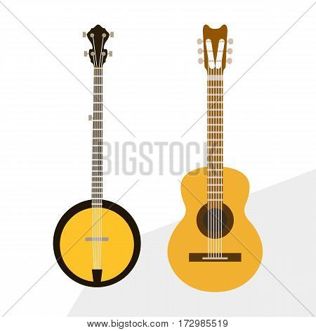 Acoustic and electric guitars vector icons set illustration. Guitars isolated on white background. Guitars silhouette. Music, concert, sound, fun, guitars.