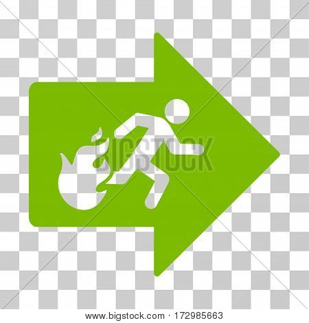 Fire Exit vector icon. Illustration style is flat iconic eco green symbol on a transparent background.